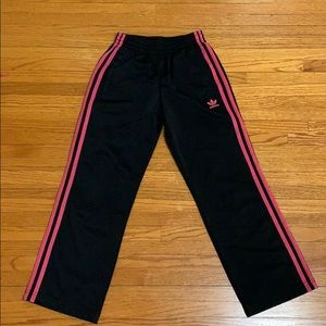 Adidas kids black and pink track pants